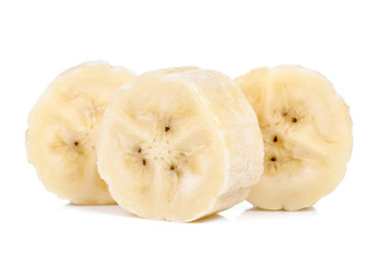 Slice of banana isolated on white background