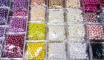 Colorful bead in transparency plastic bag