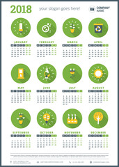 Calendar for 2018 year. Vector design stationery template. Week starts on Monday. Flat style color vector illustration with flat green ecology icons