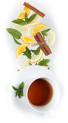 чай с лимоном и мятой и корицей всё висит в воздухе