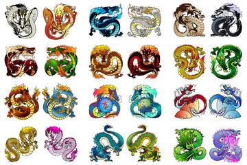 Big set 24 coloring asian dragon
