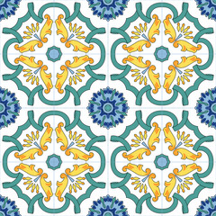 Seamless vector pattern with hand drawn traditional motifs of southern italy ceramics