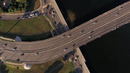 Bridge over water Aerial top view shot