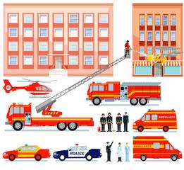 Feuerwehr und Ambulanz beim Rettungseinsatz,  illustration