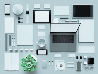 Computer, laptop, digital tablet, mobile phone, virtual headset and newspaper on grey background. IT concepts .