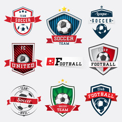 Set of soccer football logos and emblems