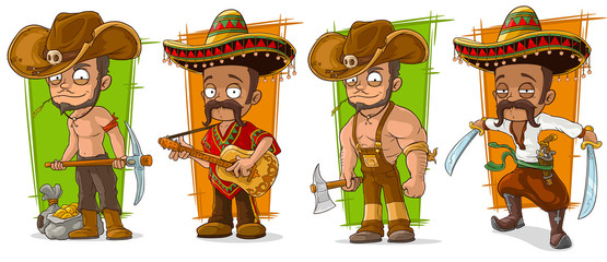 Cartoon mexicans and cowboys character vector set