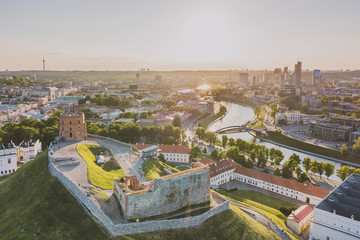 Beautiful summer panorama of Vilnius, drone aerial view