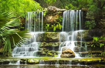The waterfalls in Prehistoric Park in Zilker Botanical Garden in Austin Texas