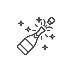 Champagne pop line icon, outline vector sign, linear style pictogram isolated on white. Celebration symbol, logo illustration. Editable stroke. Pixel perfect