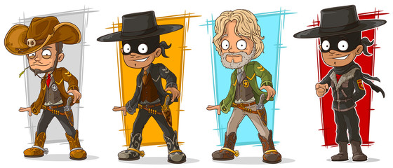 Cartoon sheriff and cowboy character vector set