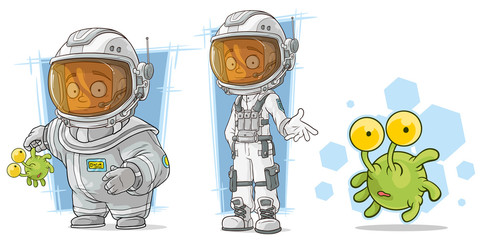 Cartoon spaceman with alien character vector set