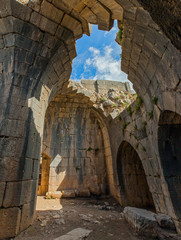 The ruined arches of the temple in the Nimrod fortress, Israel