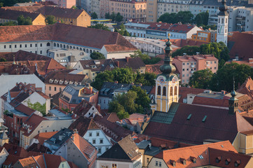 Graz, Austria - June 15th 2017: View over the old town of Graz