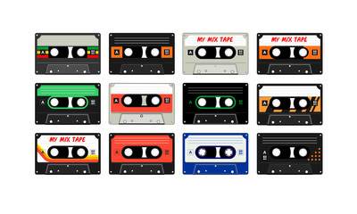 Tape recorder cassette in 80's retro music memories
