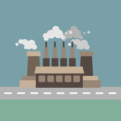 Illustration of a factory with fume near the road. Muted colored sky and background