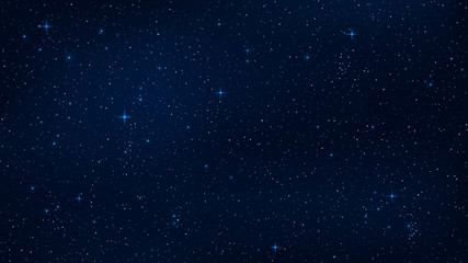 A realistic starry sky with a blue glow. Shining stars in the dark sky. Background, wallpaper for your project. Vector illustration