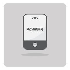 Vector of flat icon, Power bank for charging smartphone on isolated background