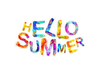 Hello summer. Vector triangular letters