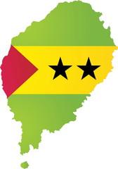 Sao Tome and Principe map and flag