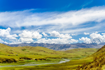Viewn on Tagong grassland and Mount Yala in Sichuan province - China