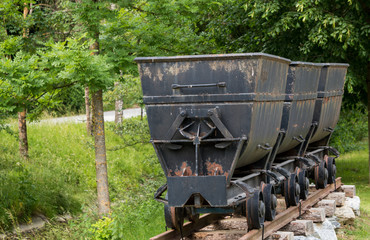 Old mining carts in the village of Arzberg