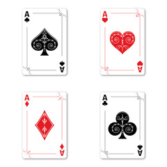 Set of four aces of a deck of cards for playing poker and casino on a white background. spades, diamonds, clubs and hearts.