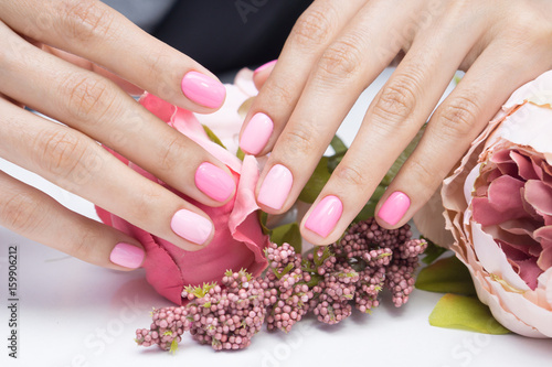 Women\'s hands and amazing natural nails. Ideal manicure with gel ...