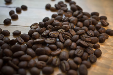 brown coffee beans on the table