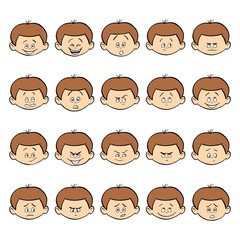 Set of kid facial emotions. Dark hair boy face with different expressions.