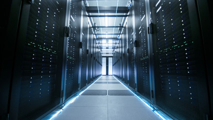 Shot of a Working Data Center With Rows of Rack Servers.