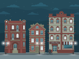 Night street with vintage houses, illuminated by streetlights.  Vector illustration easy to rebuild.
