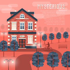 Mystic retro building at dusk. A path to the house with a bicyclist on it. Trees and luminous lanterns. Vector illustration easy to rebuild.