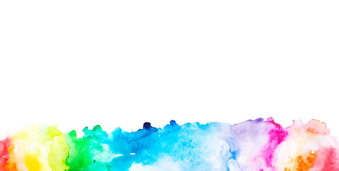 seamless rainbow spectrum watercolor paint splash . illustration for design textile, wedding invitation, greeting or birthday card, web banner, tag, label, logo and text on white background