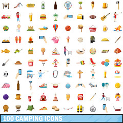100 camping icons set, cartoon style