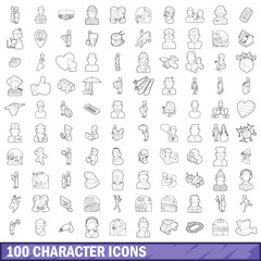 100 character icons set, outline style
