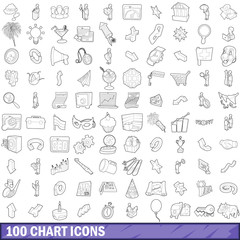 100 chart icons set, outline style