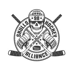 Vintage monochrome hockey emblem with a skull, sticks, gloves and a circular ribbon. Vector illustration.