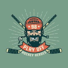 Retro playoff logo with bearded hockey player, crossed sticks and sunburst. Worn texture on a separate layer and can be easily disabled.