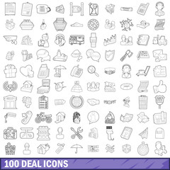 100 deal icons set, outline style