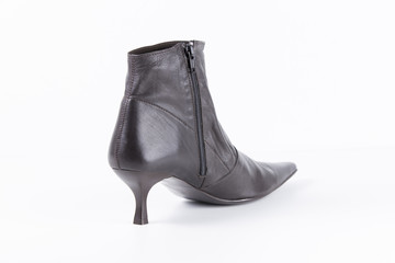 Female Brown Boot on White Background, Isolated Product, Top View, Studio.