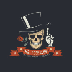 Skull with rose flower and classic head with ribbon and Mr. Rose club words.