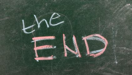 End of school on chalkboard, blackboard texture