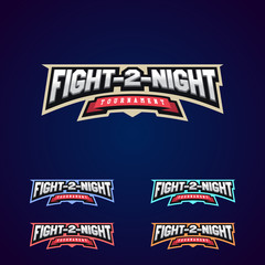 Night fight. Mixed martial arts sport logo on dark background.