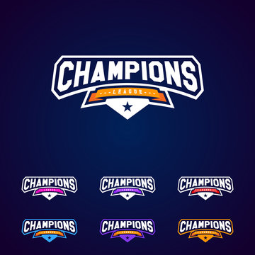 Set of the Champion sports league logo emblem badge graphic with star