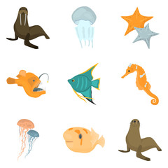 Set of sea animals color flat icons for web and mobile design