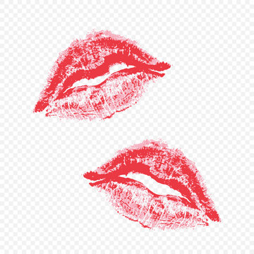 Beautiful lips on a transparent background.