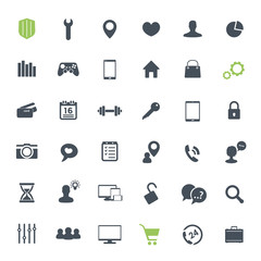 36 icons set for web design, infographics and apps
