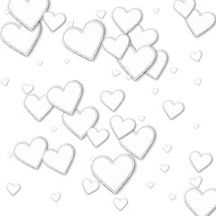 Random paper hearts. Scattered pattern on white background. Vector illustration.