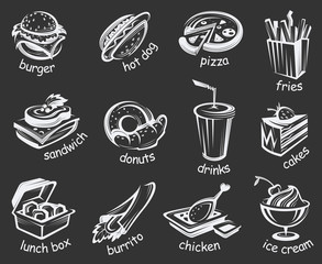 illustration of fast food set on black background